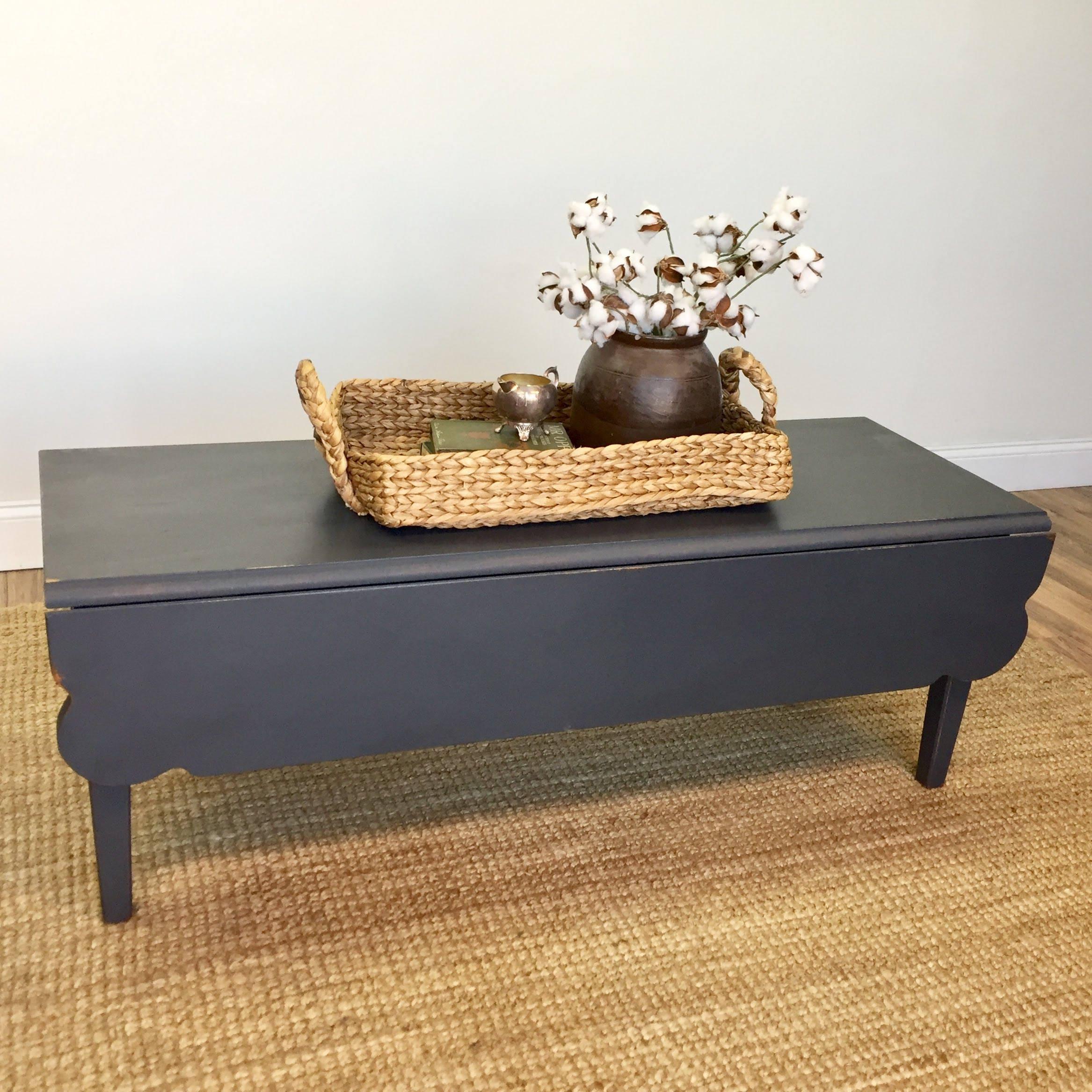Black Coffee Table Farmhouse Furniture Drop Leaf Coffee Table