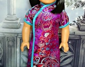 "Chinese New Year Cheongsam in Purple -- Includes Sandals  -- American Made to Fit Your 18"" Girl Doll"