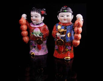 Moriage Chinese statues / satsuma figurines / Oriental art / Asian lucky doll / hand painted / vintage asian figurines / good luck gift