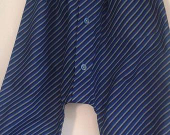 Blue and black striped cotton 2 harem pants / 4t