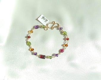 Multi gemstone bracelet 7 inch 14k gold filled peridot amethyst garnet pink tourmaline item 948