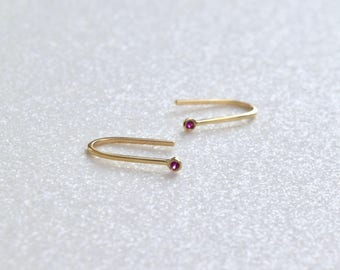 14k Gold Ruby Earrings Ruby Jewelry Genuine Ruby Stud Earrings Ruby Studs Ruby Hoop Earrings