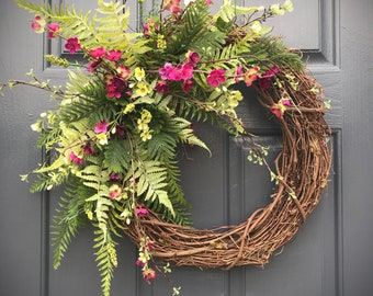 Fern Spring Wreath, Spring Door Wreath, Door Decor Spring, Gift for Her, Housewarming, Mothers Day, Full Fern Wreath, Gift Ideas, Wreaths