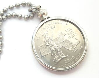 Massachusetts State Quarter Coin Necklace with Stainless Steel Ball Chain or Key-chain - 2000 - The Bay State
