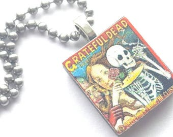 Grateful Dead Scrabble Tile Necklace with Stainless Steel Ball Chain