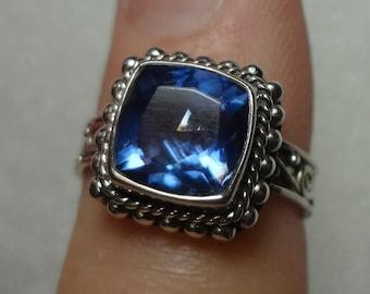 Silver Blue Topaz Ring Rhinestone Crystal Ring 925 Sterling Silver Birthday Anniversary Gift London Blue Art size 5 1/2 5.5 Womens Pinky