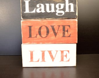 Laugh Love Live Home Decor Painted Block Signs