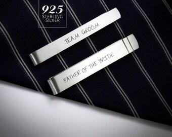 Wedding Tie Clips personalized, groom tie clip, father of the bride tie clip, sterling silver