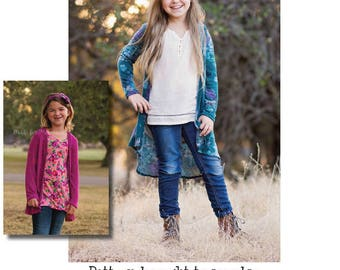Girls Darcey Duster, Vest & Cardigan PDF Sewing Pattern instant download Sizes 1/2-14