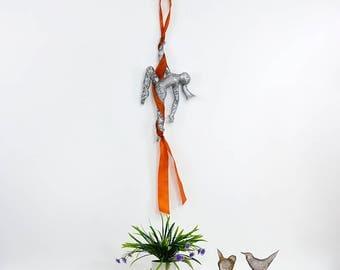 Aerial silks, Metal sculpture, Acrobat sculpture, Gymnastics sculpture, interior design, Dance art