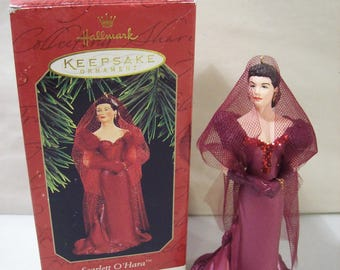 Vintage Hallmark Gone With the Wind Scarlett O'Hara in Wine Colored Dress Christmas Ornament 1997