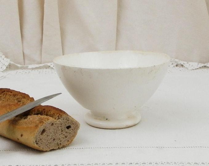 Antique Digoin Plain White Farmhouse Coffee Bowl from France, French Country Ceramic Café au Lait Bowl, Cottage Kitchen Latte Bowl, Brocante