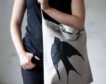 Market tote bag,  produce bag, linen shopping bags, linen zero waste bag, swallow print hand painted on linen tote, market bag, zero waste