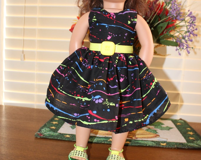 Ready to Party Multi Color Print with Green Ribbon Dress Green Bling Shoes Made to fit the AG and other 18 inch dolls FREE SHIPPING
