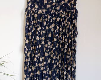 Vintage Navy Blue Floral Midi Dress with Empire Waist Tie and Button up Top