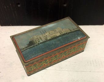Antique Procter & Gamble Factory Tin Box, Long Beach, Christmas Art Deco Poinsettias, Canco Orange and Blue, Vintage c 1920s