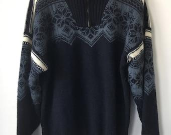 Norwegian sweater Dale of Norway thick heavy wool pullover snowflake pattern TRADISJON sweater apres ski blue shades  mens Large half zipper