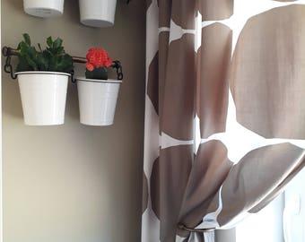 Curtain panel Marimekko white golden brown rounds Modern House Decor Cafe curtain Kitchen valance , runner , napkins available, great GIFT