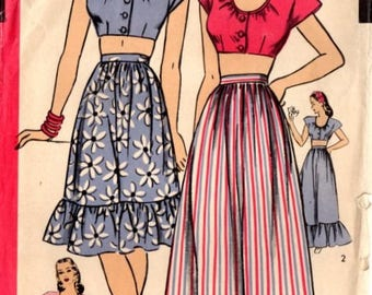 Hollywood 1567 Misses' Vintage 1940s Two Piece Spring/Summer Midriff Top and Skirt Ensemble Sewing Pattern