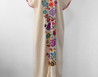 Hand Embroidered Dress Cotton Maxi Dress, Embroidered Long Dress, Mexican Dress