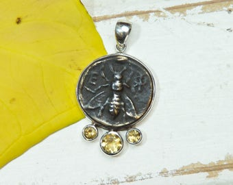 Honeybee Bee Pendant Necklace - Rustic - Citrine Gemstones -  Sterling Silver - coin pendant