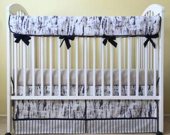 Navy & Taupe Birch Bumperless Baby Crib Bedding Set / Woodland Crib Bedding Set - Includes Crib Skirt and Crib Rail Pad  - Baby Boy Bedding