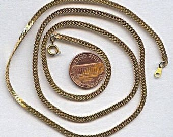 "36 Vintage Brass 3mm Herringbone 24"" Chain Necklace Ch9"