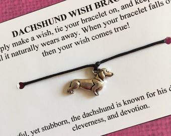 Dachshund Wish Bracelet - Wish Bracelet - Dog Bracelet - Party Favor - Wishing Bracelet - Dachshund Charm Bracelet - Gift - Dog Lover