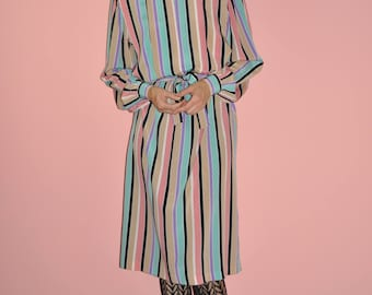 Vintage 80s Striped Pink Black Pastel Secretary Midi Dress