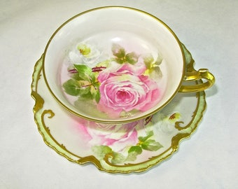 ANTIQUE CORONET LIMOGES Cup and Saucer, Pink Roses, Gold, Hand Painted, Signed, Borgfeldt
