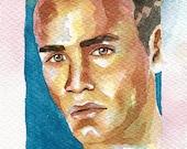 Original Artwork Watercolor Painting Erotic Male Man Nude Gay