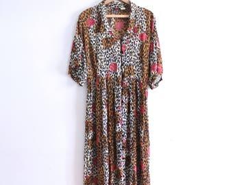 Cheetah Rose Flowy 90s Maxi Dress