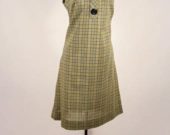 1950s Day Dress Vintage Tent Dress Moss Green Plaid Vintage Women Sleeveless Summer Cotton Plaid Dress Large Buttons Long Point  Collar