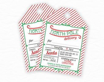 Christmas Gift Tags, Christmas Printables, Christmas Labels, Gift Label, Special Delivery From North Pole, From Santa -  INSTANT DOWNLOAD