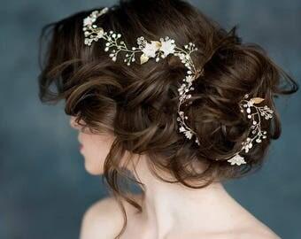 Gold Flower Leaf Bridal Hair Vine, Silver Floral Headpiece, Wedding Rhinestone Hair Piece, Rose Gold Crystal Pearl Hair Accessory, PANDORA