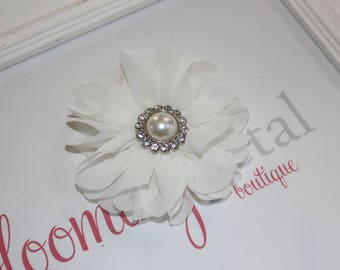 Large Chiffon Ivory Flower Clip with Pearl Button