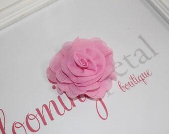 Pink Chiffon Rose Flower Clip