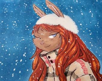 Original INKtober Fashion Piece - Winter Rabbit in the Snow, Original Art, Original Artwork, Original Drawing, Fashion Art Piece