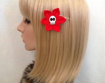 Skull hair flower snap clip rockabilly pin up girls psychobilly punk pretty cute retro red Dias de Los muertos Mexican floral kawaii