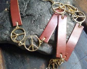 Vintage 1960s 1970s hippie belt, leather belt, S, peace sign belt, boho belt, ban the bomb belt, stoner belt