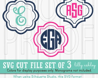 Monogram SVG Files Set of 3 Shapes-SVG PNG jpg all included-Cut Files Commercial Use! frame svg great for monograms/initials (not included)