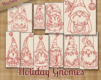 Holiday Gnomes Machine Embroidery Patterns / Designs - 5 Sizes - 10 Designs - Christmas Winter Whimsical Fantasy Holiday Cute