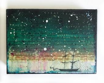 Starry Night Sailboat mixed media acrylic original art, astronomy, sailboat, stars, astronomy night sky painting