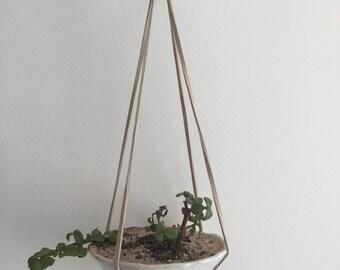 White and Blush Ceramic Hanging Planter