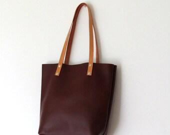 Classic Leather Tote Bag, Leather Purse, Brown Leather Shoulder Bag, Handmade Leather Bag, Laptop Bag, Leather Market Bag, Shopping Bag