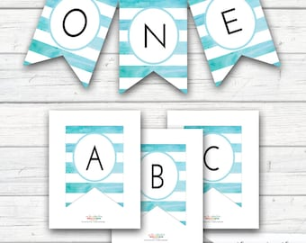Watercolor Bunting, Blue Turquoise Watercolors Banner, Birthday Shower Banner, Create Your Own A- Z Banner, INSTANT DOWNLOAD - Printable