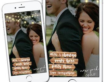 Custom Rustic Wedding Snapchat Filter, Rustic Wedding Snapchat Filter, Personalied Wedding Sign, Wooden Wedding Sign, Wedding Decor, Geotag