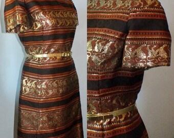 1960s Silk Brocade Novelty Lion Print Dress