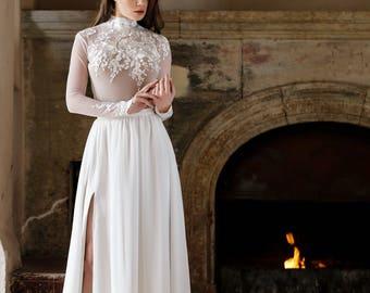 lace bodysuit, wedding separates, longsleeve lace blouse, bridal longsleeve, lace high neck, white bodysuit, wedding gown separates, bridal