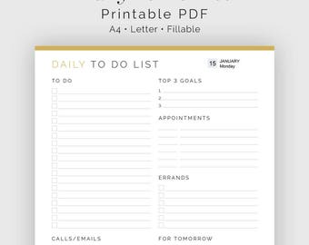 Daily To Do List - Fillable - Printable PDF - Task Management, Productivity Planner - Business Planner - Instant Download